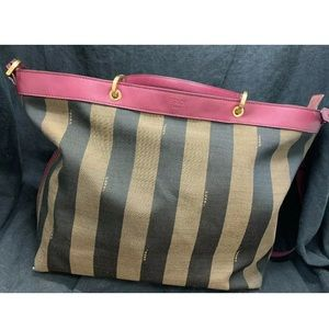 Fendi Pequin Tobacco magenta satchel gorgeous